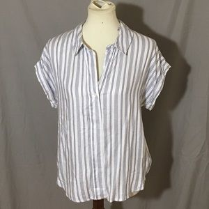 Tops - Andeawy white blue striped blouse